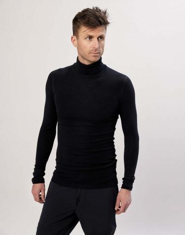 Polotröja i merinoull för män svart