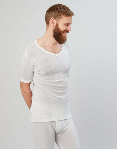 Herr-T-shirt i merinoull med V-ringning natur