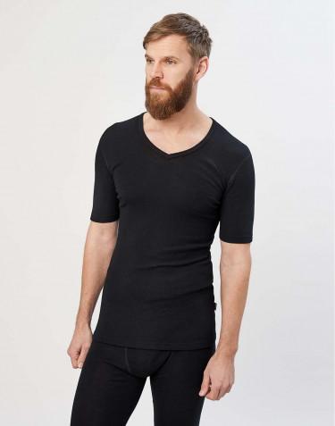 Herr-T-shirt i merinoull med V-ringning svart