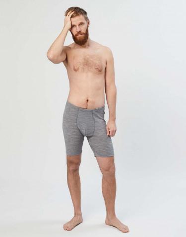 Boxershorts i merinoull med gylf grå