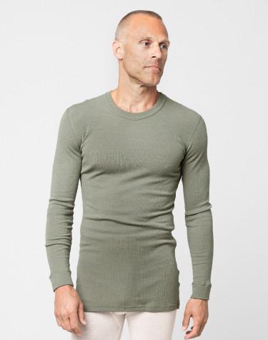 Långärmad merinoullströja för män ribbad olivgrön