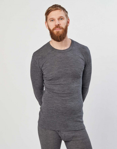 Långärmad merinoullströja för män ribbad mörk gråmelerad