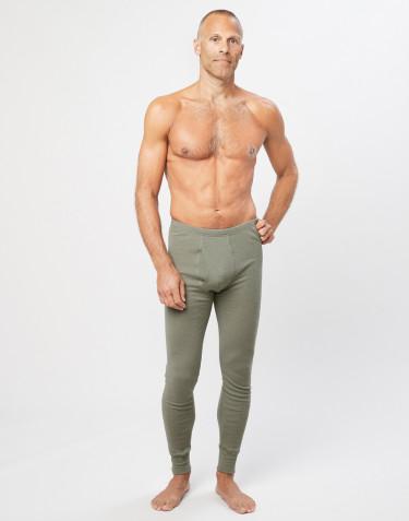 Långkalsonger med gylf i merinoull för män olivgrön