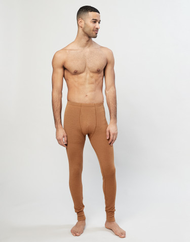 Långkalsonger med gylf i merinoull för män karamell