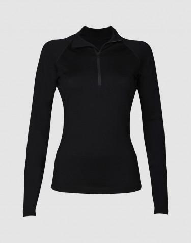 Damtröja med blixtlås - exklusiv merinoull svart