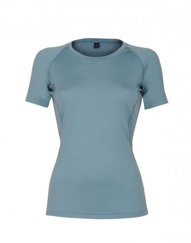 T-shirt i exklusiv merinoull för dam mineralblå