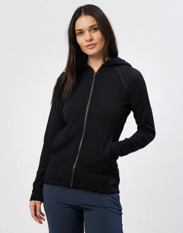 Damhuvtröja i ullfrotté med fickor svart