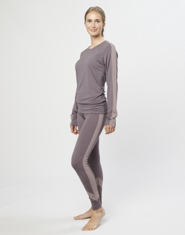 Leggings för dam i exklusiv merinoull lavendelgrå