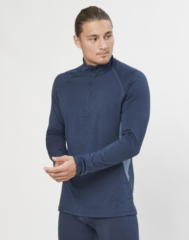 Långärmad tröja med 1/3 blixtlås - ekologisk, exklusiv merinoull gråblå