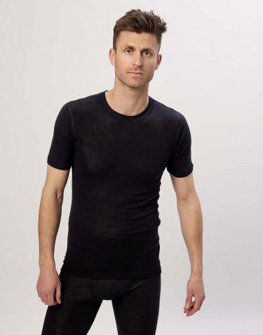 T-shirt med kvartsärmar för män i merinoull/siden svart