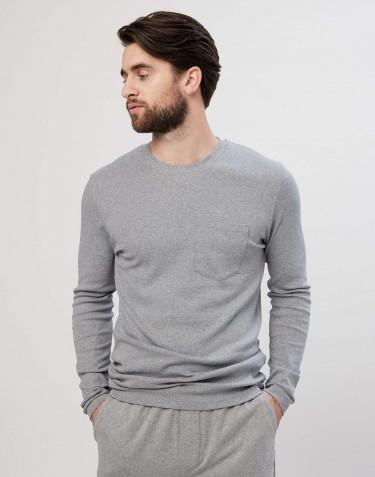 Långärmad pyjamaströja för män i bomull gråmelerad
