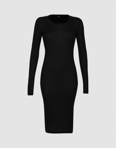 Långärmat ribbstickat nattlinne för kvinnor, svart