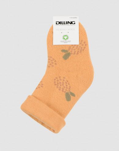 Blommönstrade strumpor för baby - ullfrotté gul