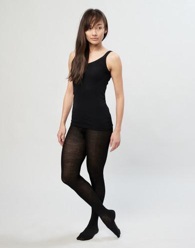 Strumpbyxor för kvinnor i ribbstickad merinoull svarta