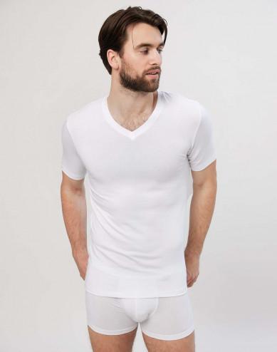 Herr-T-shirt i bomull med V-ringning vit