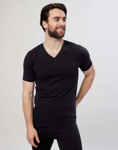Herr-T-shirt i bomull med V-ringning svart