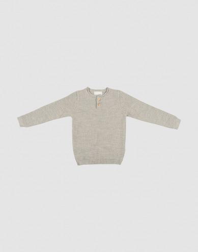 Barnsweater stickad gråmelerad