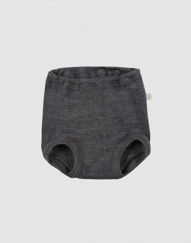 Underbyxa i merinoull för baby mörk gråmelange