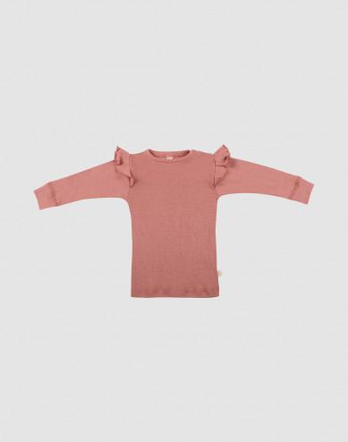 Merinoullströja med volang för baby rosa