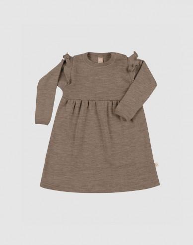 Klänning i merinoull med volanger för baby