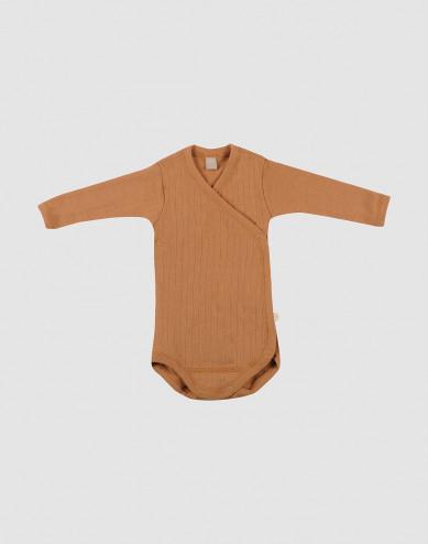 Omlottbody i ribbstickad ull för baby karamell