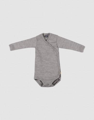Omlottbody i ribbstickad ull för baby
