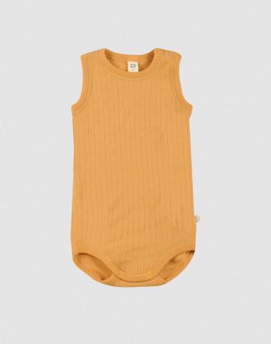 Ribbstickad body i ull utan ärmar gul