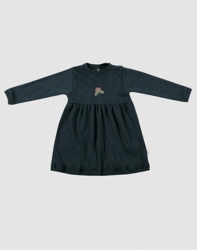Ribbstickad klänning i ull för baby i Mörkt petroliumblå