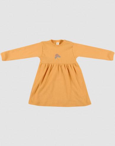 Ribbstickad klänning i ull för baby gul