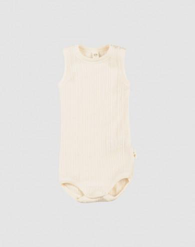 Ärmlös body i merinoull för baby