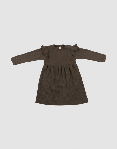 Ribbstickad ullklänning med volang för baby mörk choklad