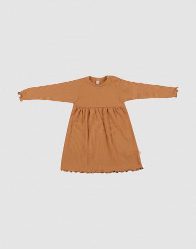 Merinoullsklänning med vågig kant för baby, karamell