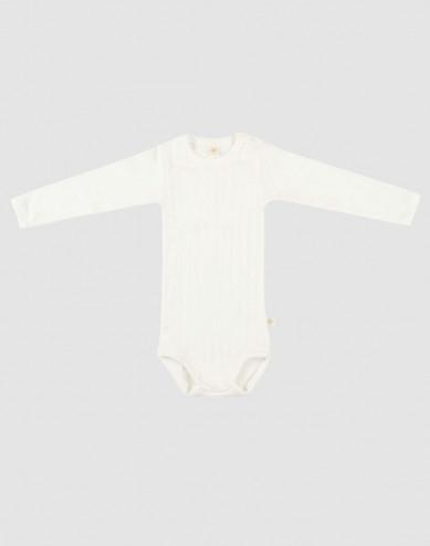 Långärmad body för baby i ekologisk bomull vit
