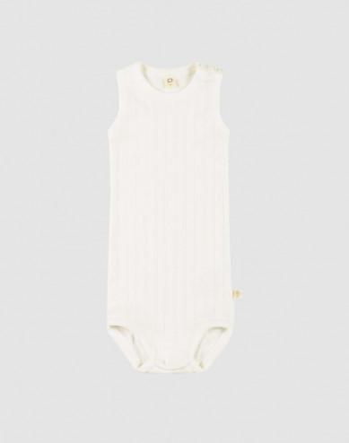 Ärmlös body för baby i ekologisk bomull vit