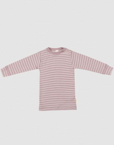 Långärmad tröja för baby i ekologisk ull/siden pastellrosa/natur