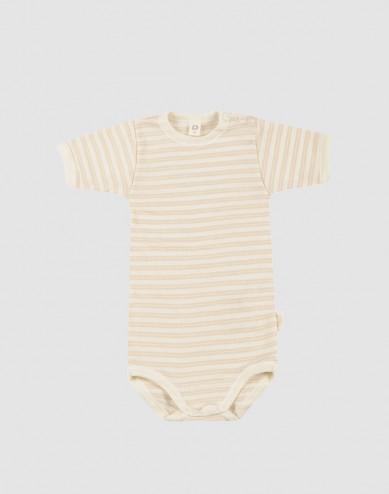 Kortärmad body för baby i ekologisk ull-siden Beige/natur