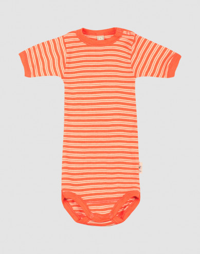 Kortärmad body i merinoull/siden för baby