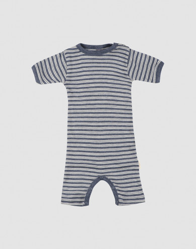 Sommardräkt för baby i ekologisk ull/siden Blåmelerad/natur