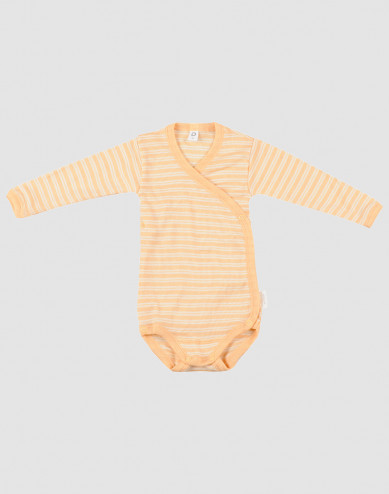 Omlottbody för baby i ekologisk ull/siden Aprikos/natur