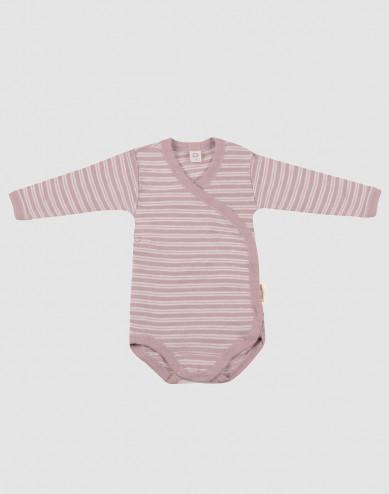 Omlottbody för baby i ekologisk ull/siden pastellrosa/natur