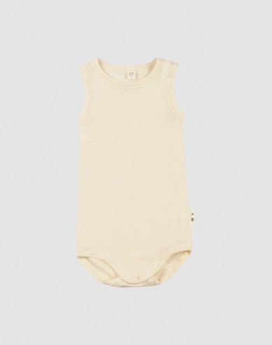 Ärmlös body i merinoull/siden för baby