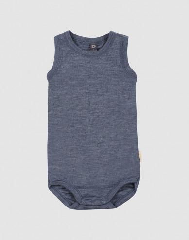 Ärmlös body för baby i ekologisk ull/siden Blåmelerad