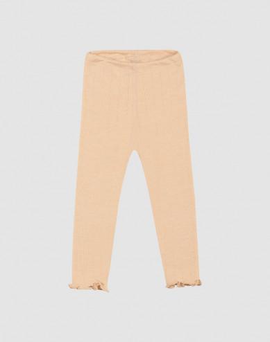 Pointelle-stickade leggings i merinoull/siden för baby