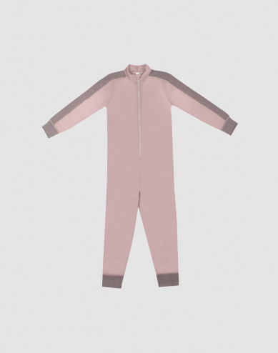 Jumpsuit för barn - exklusiv ekologisk merinoull gammalrosa