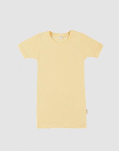 T-shirt för barn i ekologisk ull/siden Ljusgul