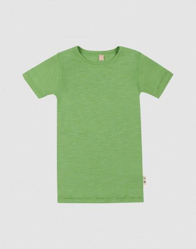 T-shirt i merinoull/siden för barn