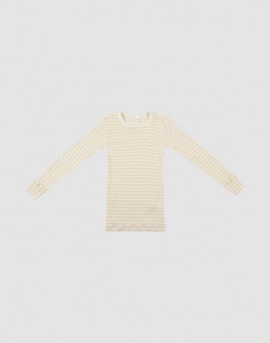 Långärmad tröja för barn i ekologisk ull/siden Beige/natur