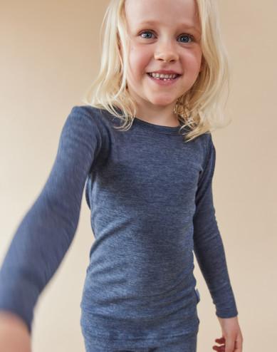 Långärmad tröja för barn i ekologisk ull/siden blåmelerad