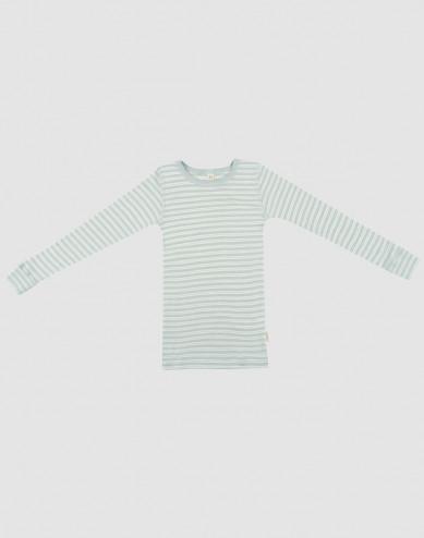 Långärmad tröja för barn i ekologisk ull/siden pastellgrön/natur