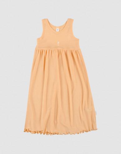 Ärmlös klänning i ekologisk ull/siden aprikos